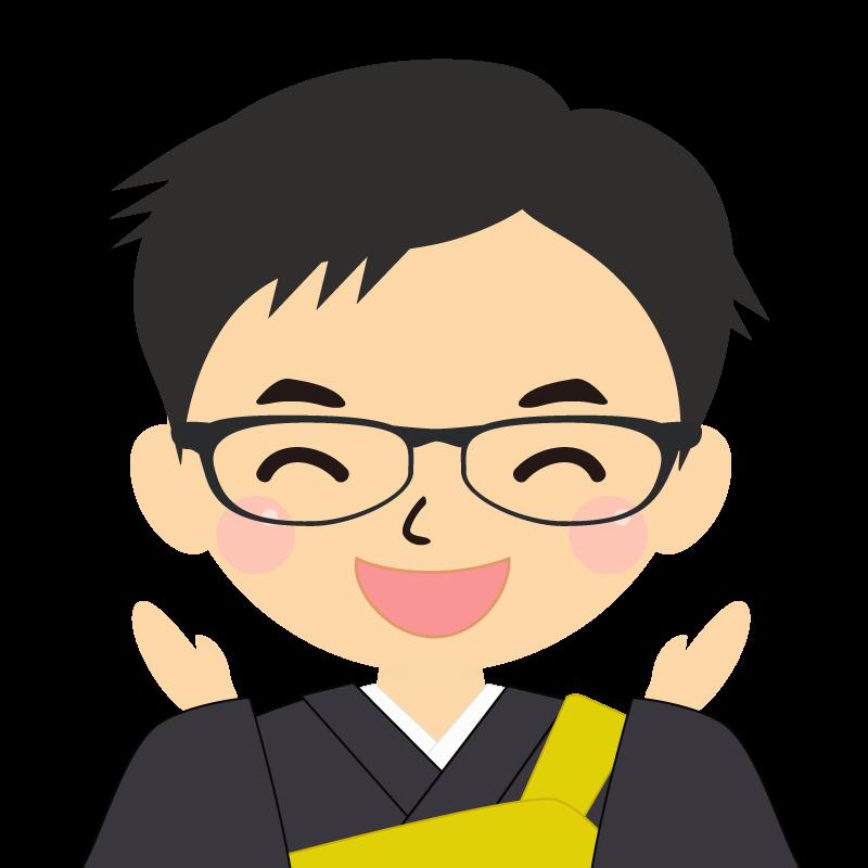 画像:短髪の男性・僧侶・法衣 眼鏡 喜び
