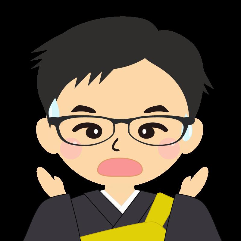 画像:短髪の男性・僧侶・法衣 眼鏡 驚き