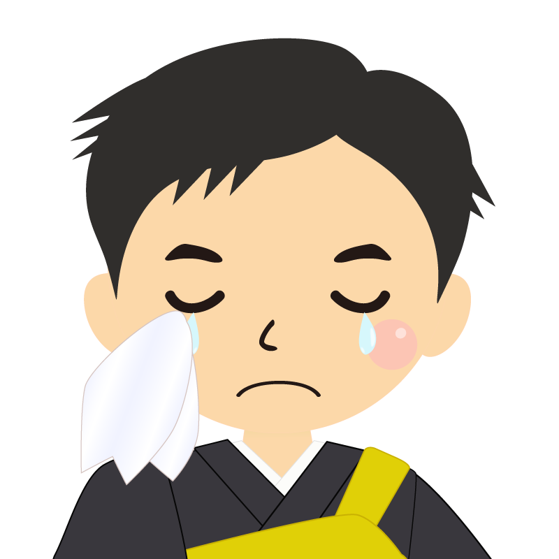 画像:短髪の男性・僧侶・法衣 涙