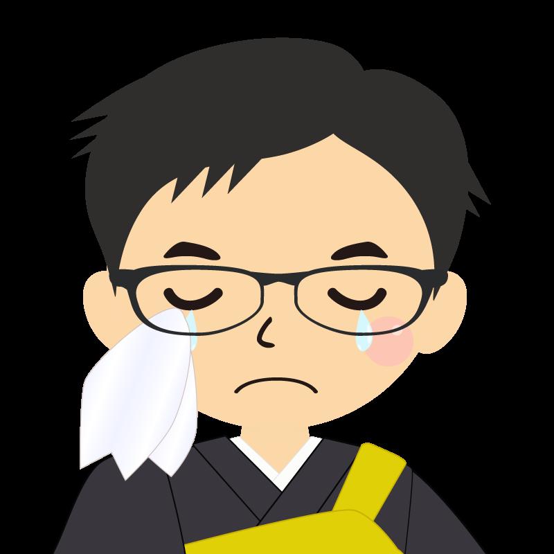 画像:短髪の男性・僧侶・法衣 眼鏡 涙