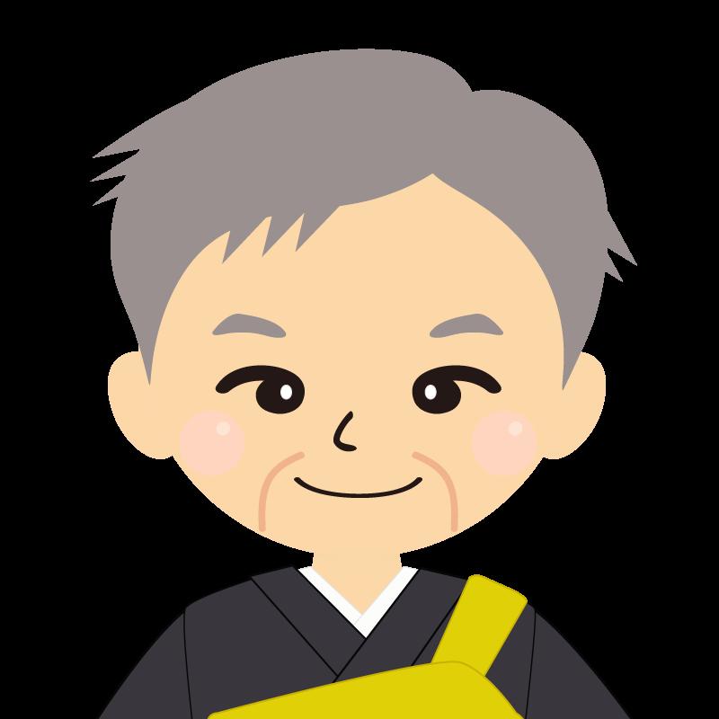 画像:高齢・短髪白髪の男性・僧侶・法衣