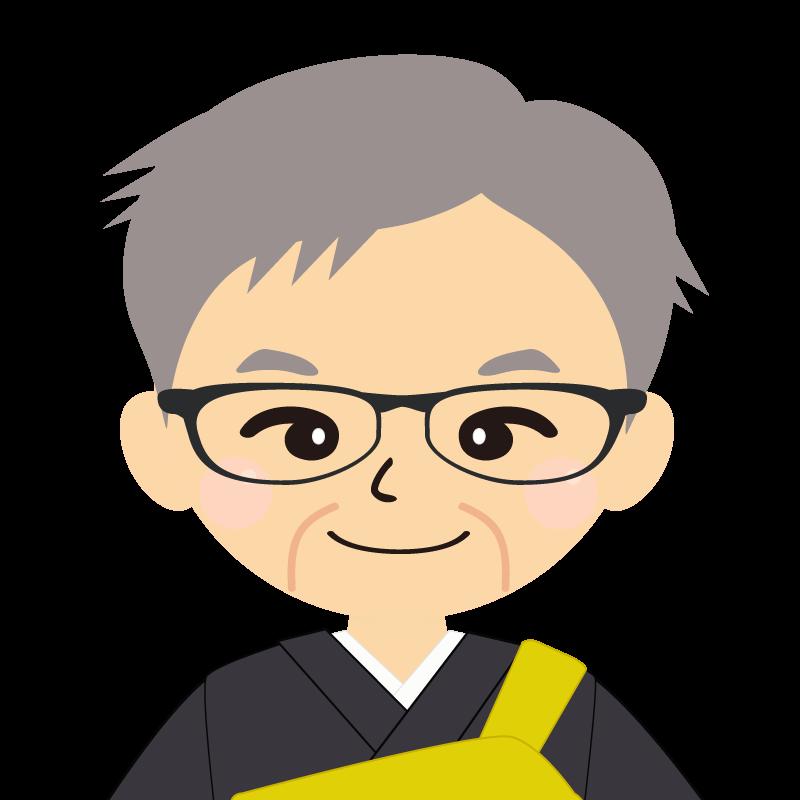 画像:高齢・短髪白髪の男性・僧侶・法衣・眼鏡