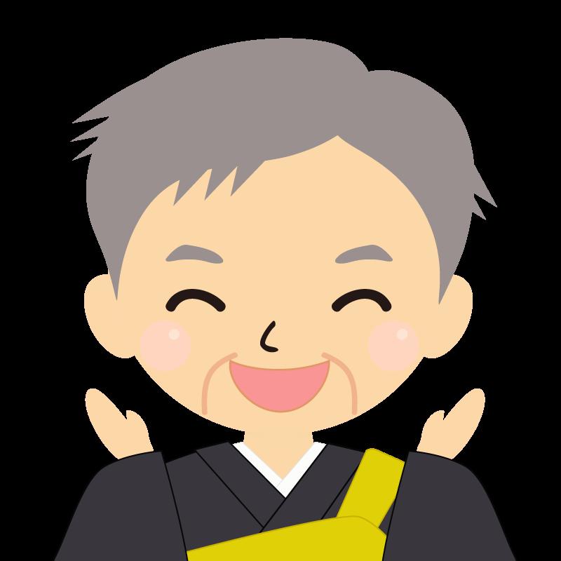 画像:高齢・短髪白髪の男性・僧侶・法衣 喜び