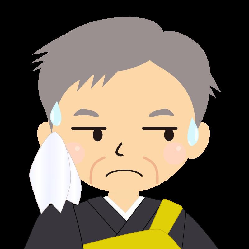 画像:高齢・短髪白髪の男性・僧侶・法衣 目線を外す