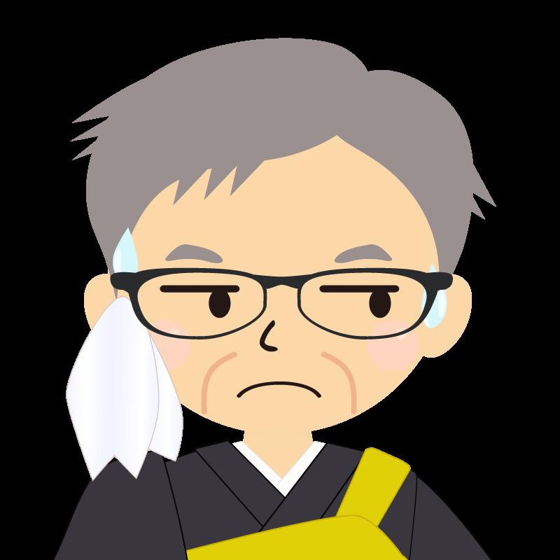 画像:高齢・短髪白髪の男性・僧侶・法衣・眼鏡 目線を外す
