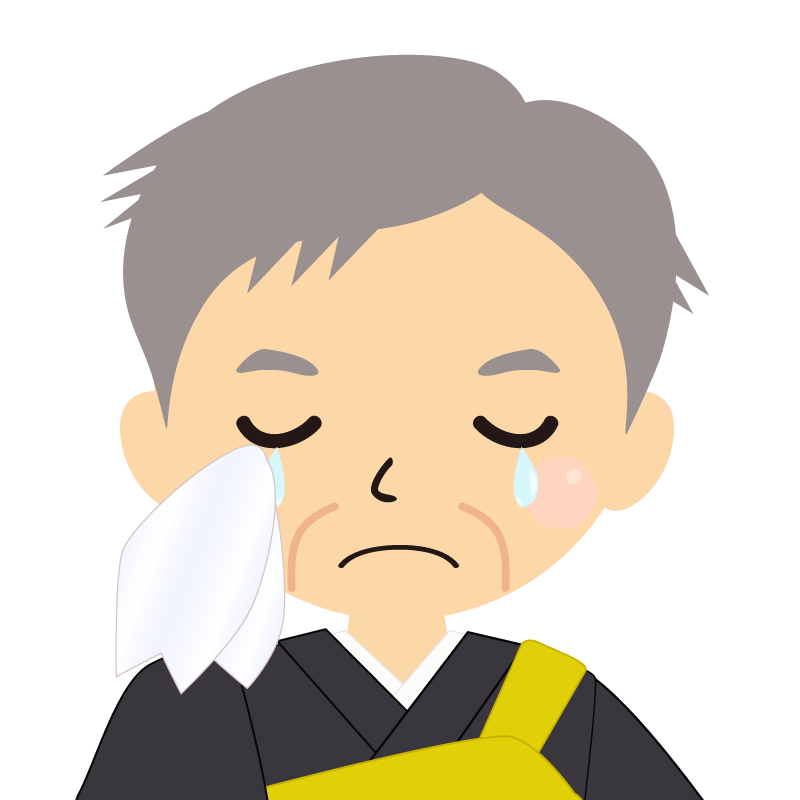 画像:高齢・短髪白髪の男性・僧侶・法衣 涙