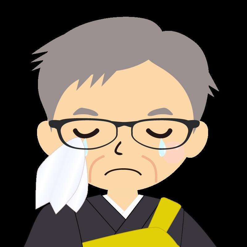 画像:高齢・短髪白髪の男性・僧侶・法衣・眼鏡 涙