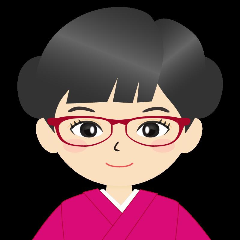 画像:お団子頭の女の子・和装・着物フリーイラスト 眼鏡