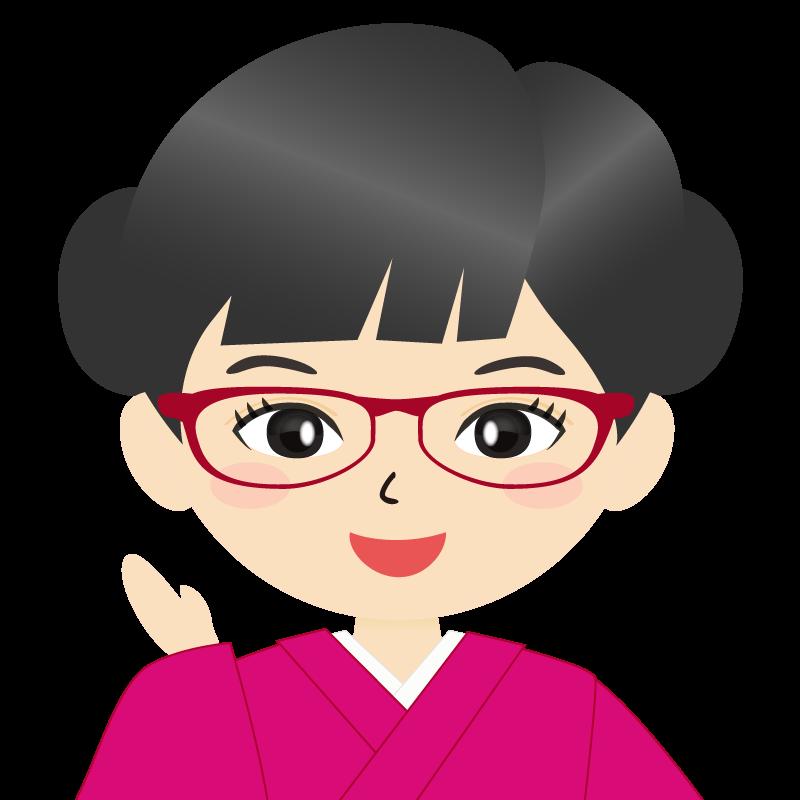画像:お団子頭の女の子・和装・着物フリーイラスト 眼鏡 笑顔