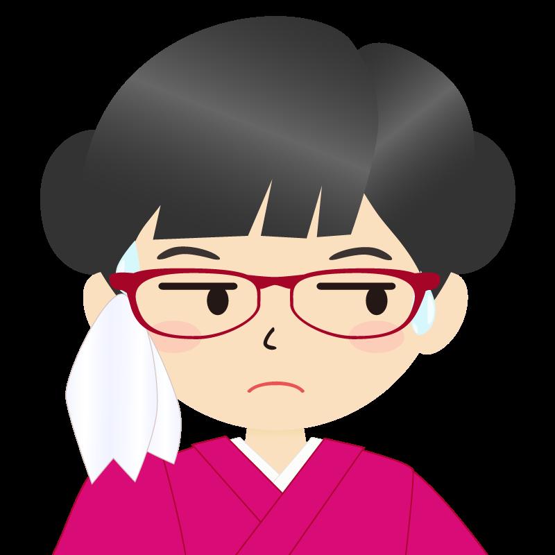 画像:お団子頭の女の子・和装・着物フリーイラスト 眼鏡 汗