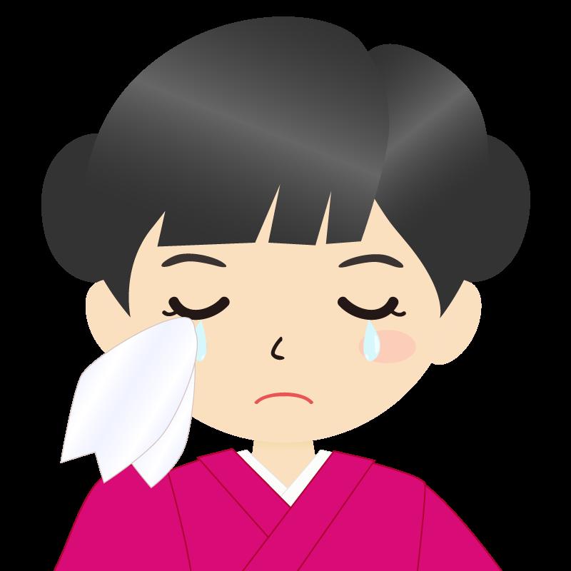 画像:お団子頭の女の子・和装・着物フリーイラスト 涙