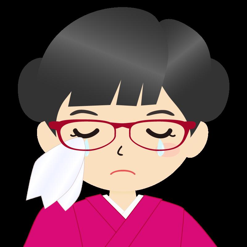 画像:お団子頭の女の子・和装・着物フリーイラスト 眼鏡 涙