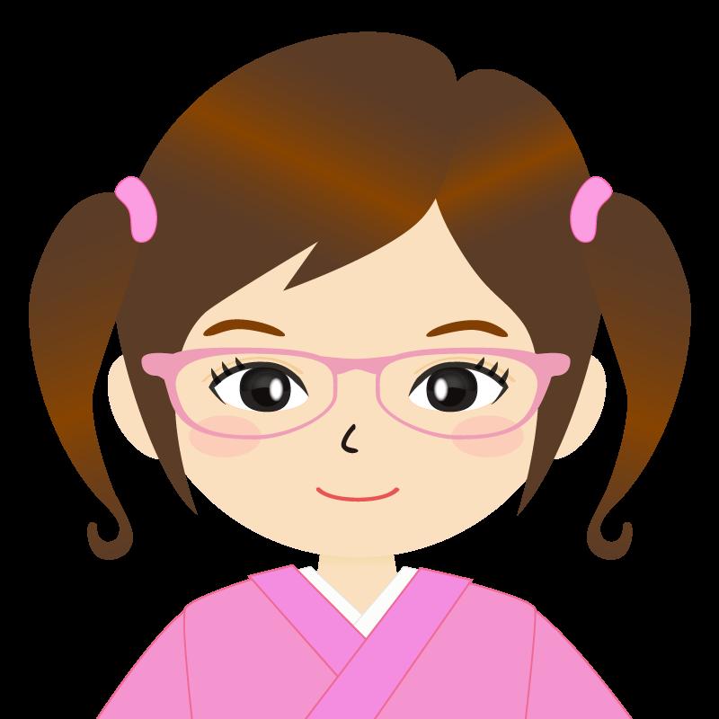 画像:ツインテールの女の子・和装・着物フリーイラスト 眼鏡