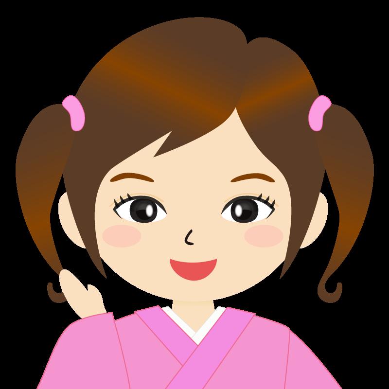 画像:ツインテールの女の子・和装・着物フリーイラスト 笑顔