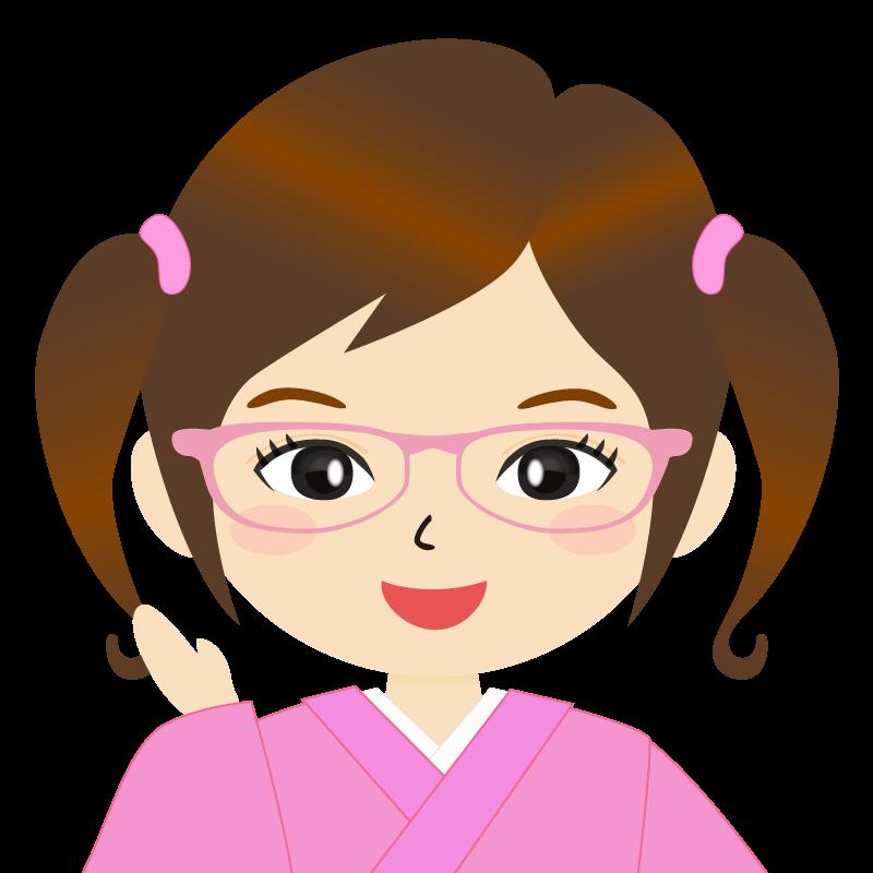 画像:ツインテールの女の子・和装・着物フリーイラスト 眼鏡 笑顔