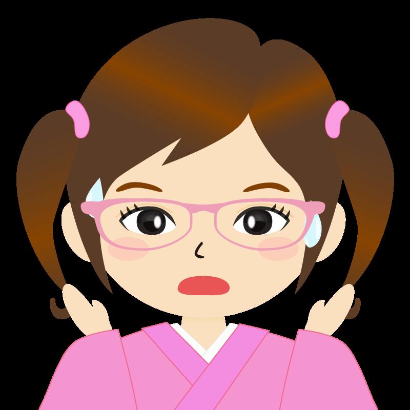 画像:ツインテールの女の子・和装・着物フリーイラスト 眼鏡 驚き