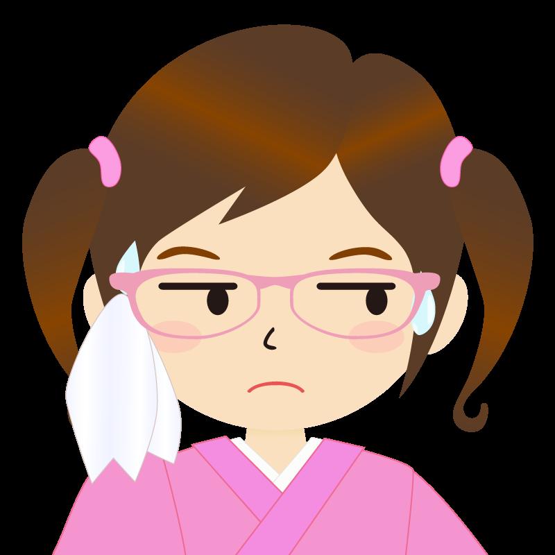 画像:ツインテールの女の子・和装・着物フリーイラスト 眼鏡 汗