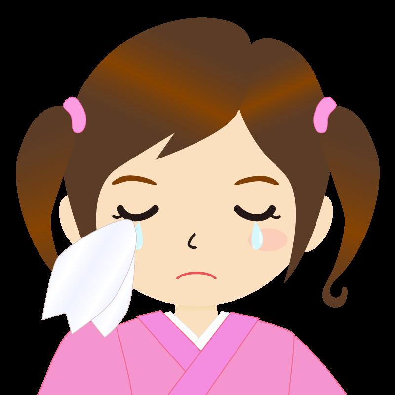 画像:ツインテールの女の子・和装・着物フリーイラスト 涙