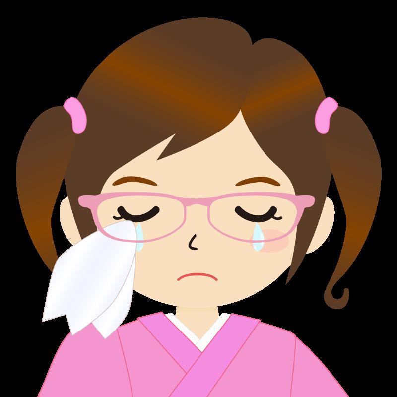 画像:ツインテールの女の子・和装・着物フリーイラスト 眼鏡 涙