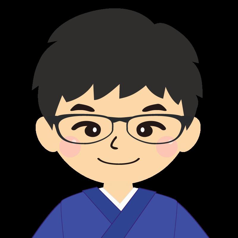 画像:和服の男性(着物)のフリー素材イラスト 眼鏡