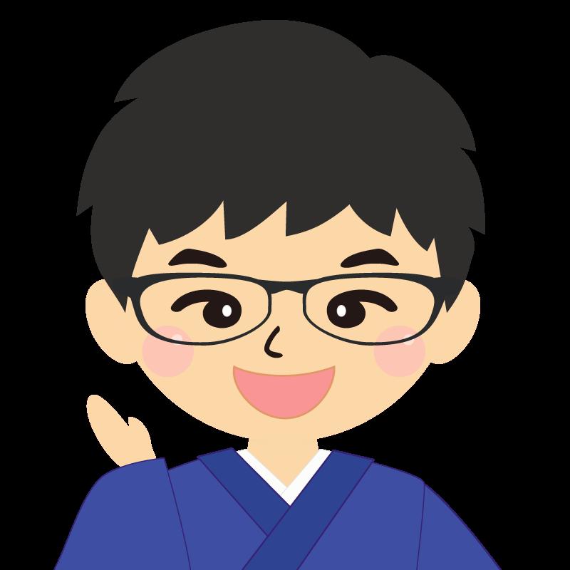 画像:和服の男性(着物)のフリー素材イラスト 眼鏡 笑顔