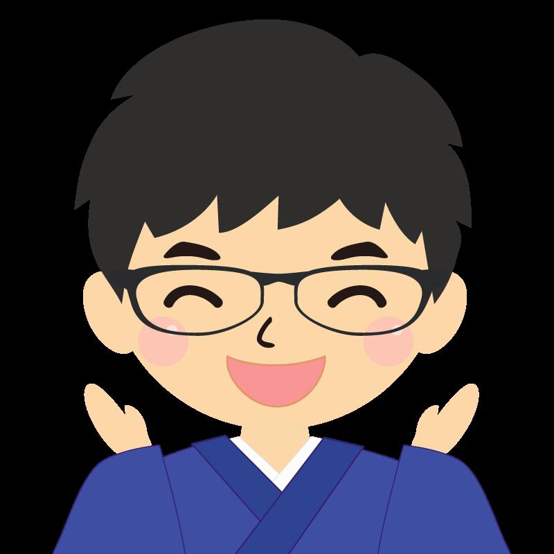 画像:和服の男性(着物)のフリー素材イラスト 眼鏡 喜び