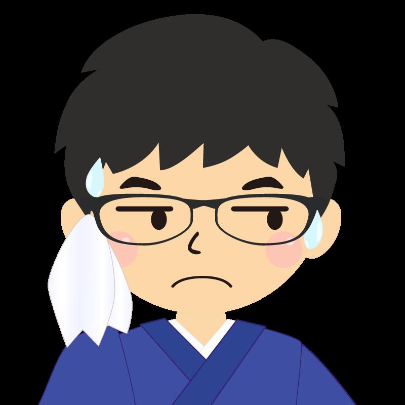 画像:和服の男性(着物)のフリー素材イラスト 眼鏡 汗