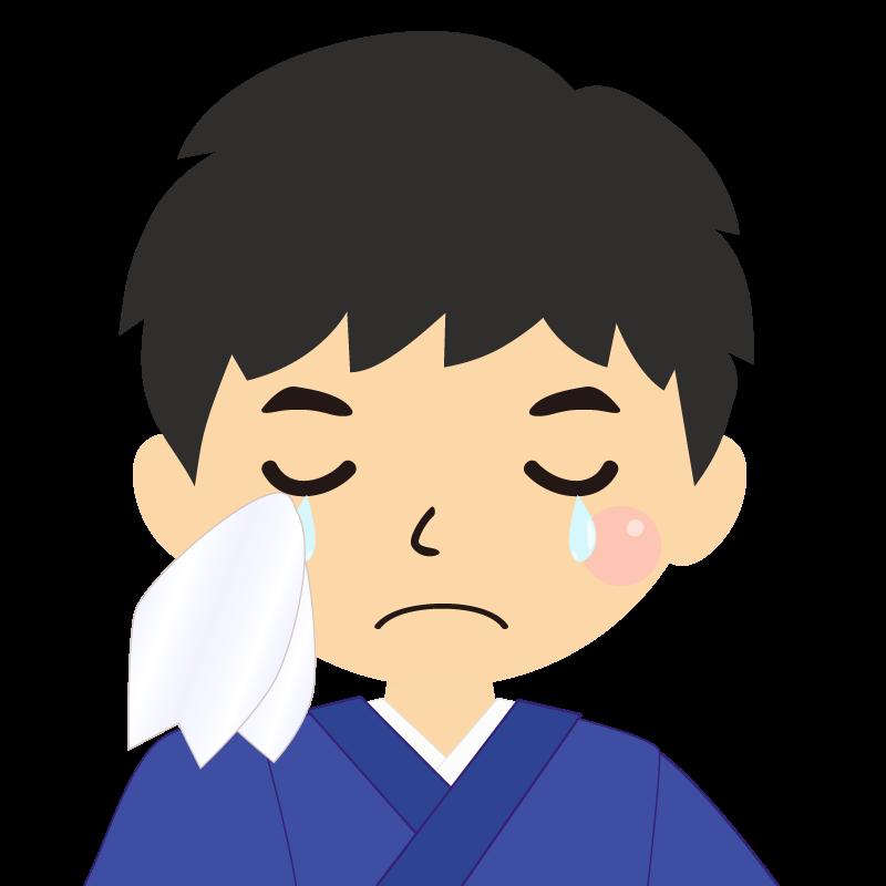 画像:和服の男性(着物)のフリー素材イラスト 涙