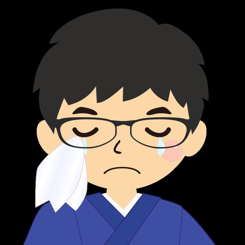 画像:和服の男性(着物)のフリー素材イラスト 眼鏡 涙