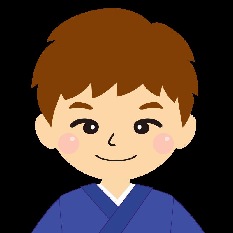 画像:茶髪で和服の男性(着物)のフリー素材イラスト