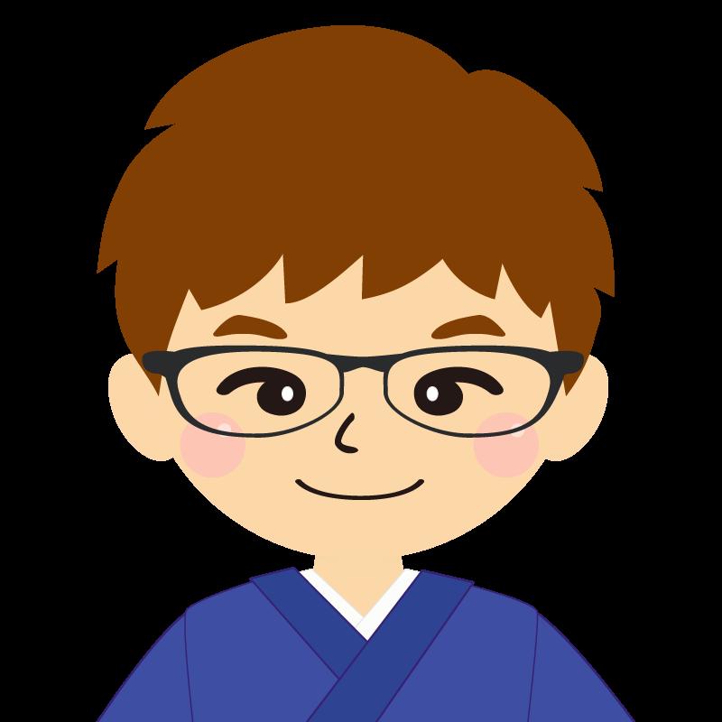 画像:茶髪で和服の男性(着物)のフリー素材イラスト 眼鏡