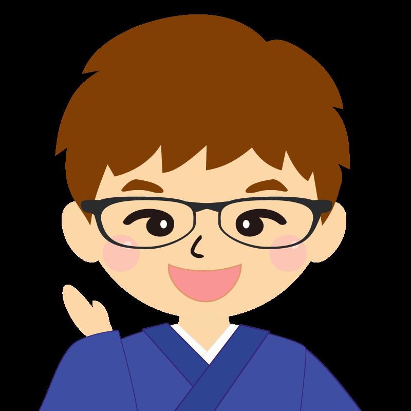 画像:茶髪で和服の男性(着物)のフリー素材イラスト 眼鏡 笑顔