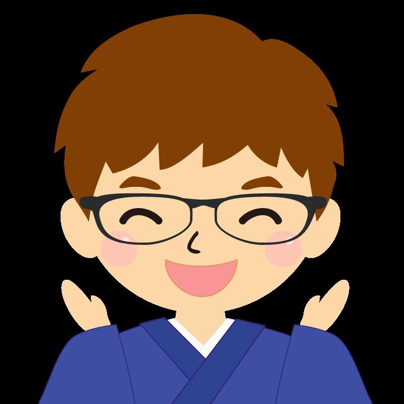 画像:茶髪で和服の男性(着物)のフリー素材イラスト 眼鏡 喜び