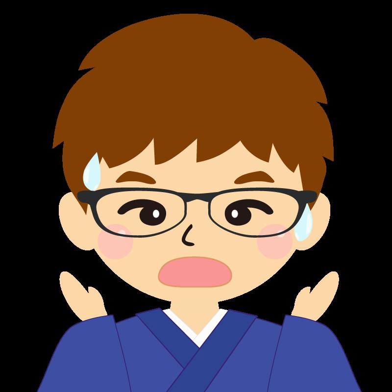 画像:茶髪で和服の男性(着物)のフリー素材イラスト 眼鏡 驚き
