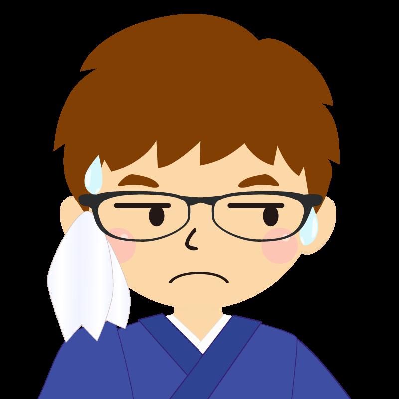 画像:茶髪で和服の男性(着物)のフリー素材イラスト 眼鏡 汗