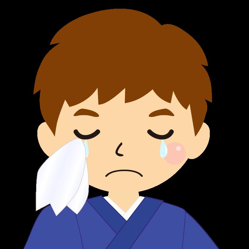 画像:茶髪で和服の男性(着物)のフリー素材イラスト 涙