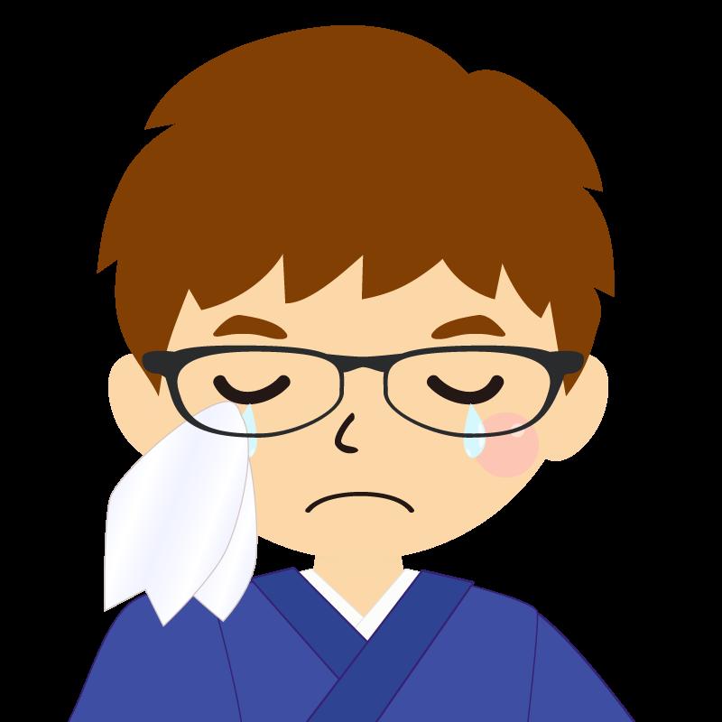 画像:茶髪で和服の男性(着物)のフリー素材イラスト 眼鏡 涙