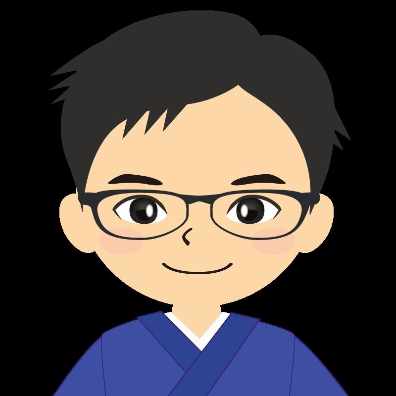 画像:和服の男性(着物)のフリー素材イラスト 短髪 眼鏡