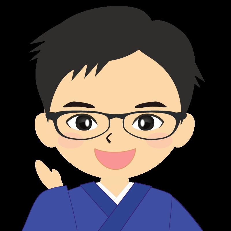 画像:和服の男性(着物)のフリー素材イラスト 短髪 眼鏡 笑顔