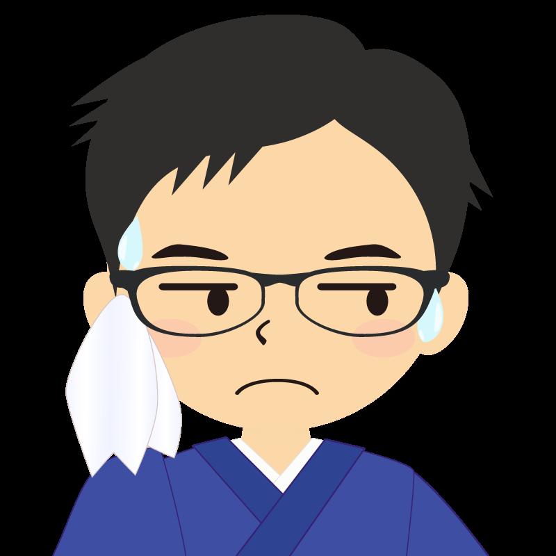 画像:和服の男性(着物)のフリー素材イラスト 短髪 眼鏡 汗