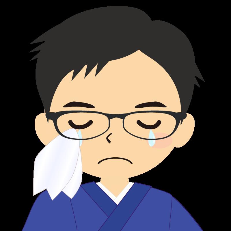 画像:和服の男性(着物)のフリー素材イラスト 短髪 眼鏡 涙