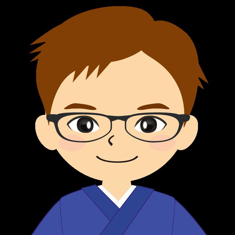 画像:和服の男性(着物)のフリー素材イラスト 短髪 茶髪 眼鏡