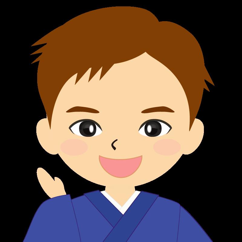 画像:和服の男性(着物)のフリー素材イラスト 短髪 茶髪 笑顔