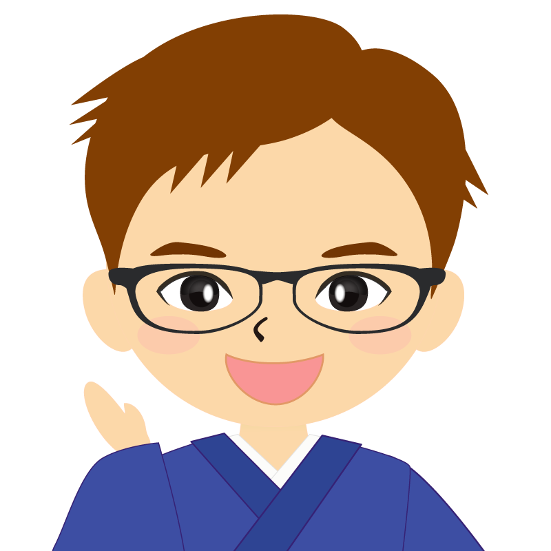 画像:和服の男性(着物)のフリー素材イラスト 短髪 茶髪 眼鏡 笑顔