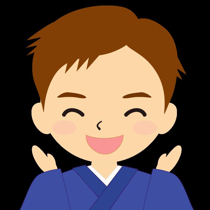 画像:和服の男性(着物)のフリー素材イラスト 短髪 茶髪 喜び