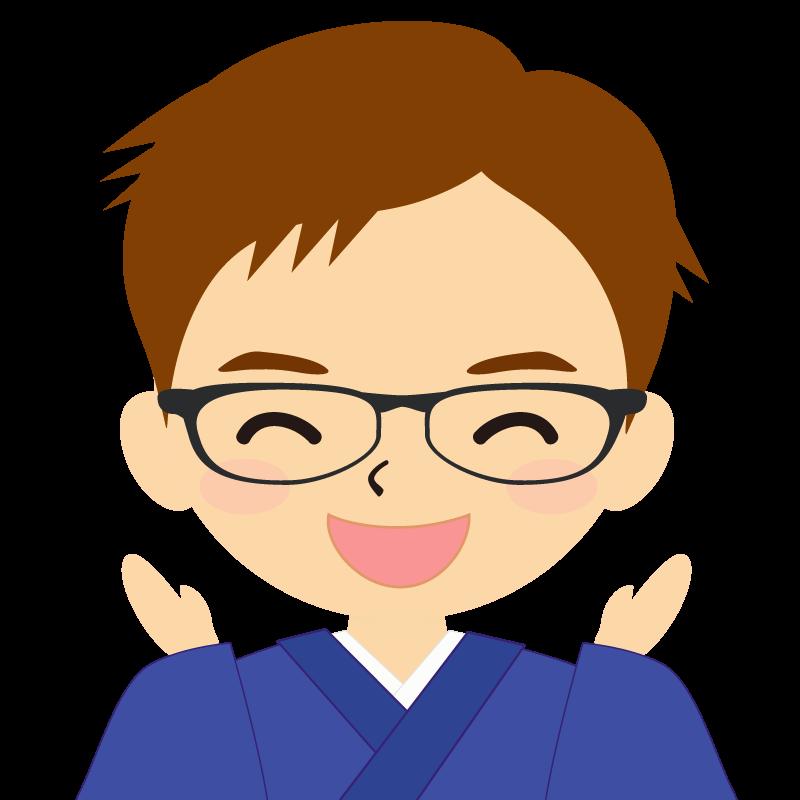 画像:和服の男性(着物)のフリー素材イラスト 短髪 茶髪 眼鏡 喜び