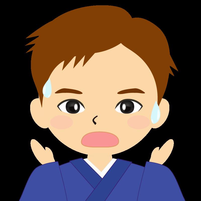 画像:和服の男性(着物)のフリー素材イラスト 短髪 茶髪 驚き