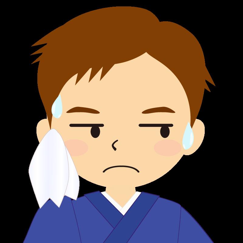画像:和服の男性(着物)のフリー素材イラスト 短髪 茶髪 汗