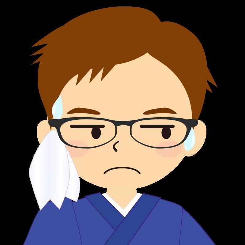 画像:和服の男性(着物)のフリー素材イラスト 短髪 茶髪 眼鏡 汗