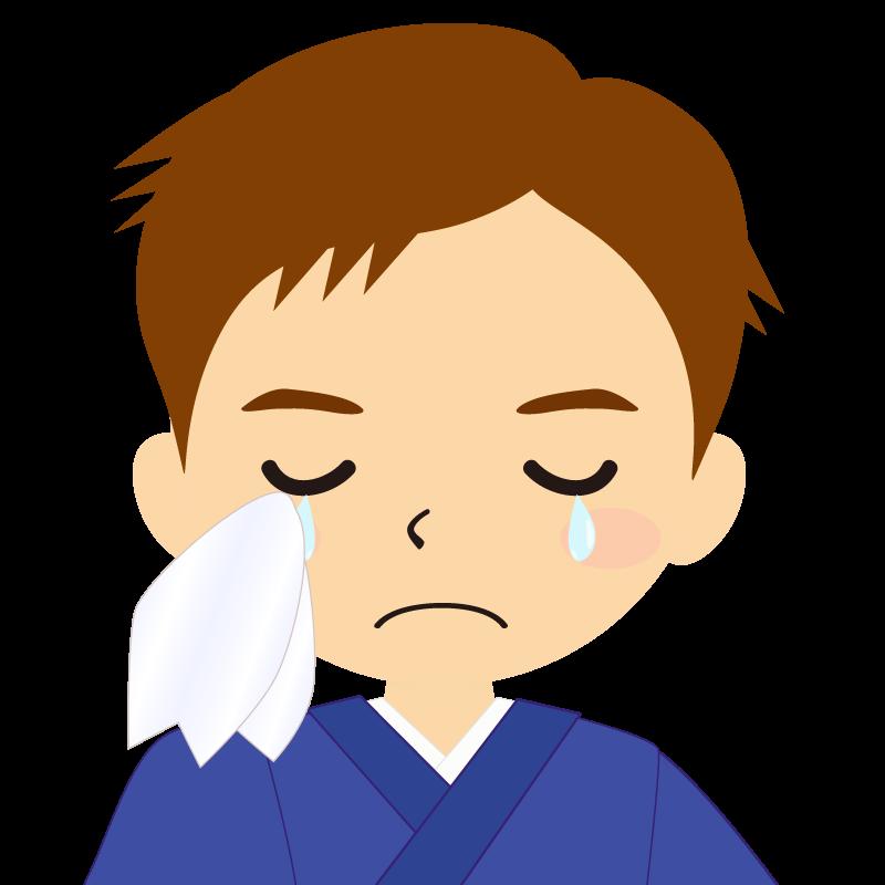 画像:和服の男性(着物)のフリー素材イラスト 短髪 茶髪 涙